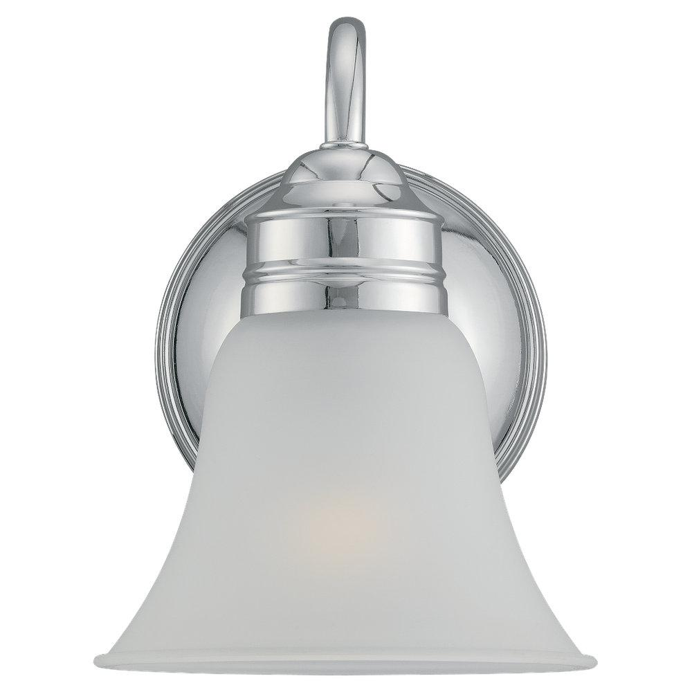 this one light bathroom sconce has a chrome finish and is part of the