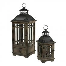Sterling Industries 51-10111/S2 - Pointe Boise Set Of 2 Wood & Metal Lanterns by Sterling