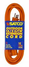 Satco Products Inc. 93/5035 - #16/3 Ga. SJTW-3 Orange Outdoor Extension Cords 15 Ft. 16-3 SJTW-3 Orange Cord W/Sleeve 13A/125V 162